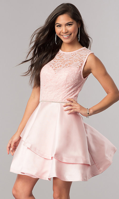 Image of lace-bodice short homecoming dress with satin skirt. Style: DQ-2011 Detail Image 1