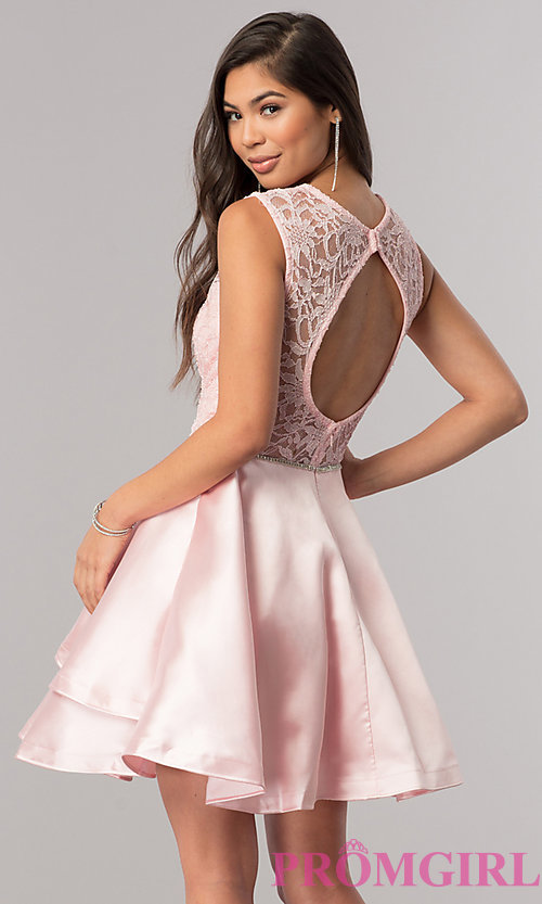Image of lace-bodice short homecoming dress with satin skirt. Style: DQ-2011 Back Image