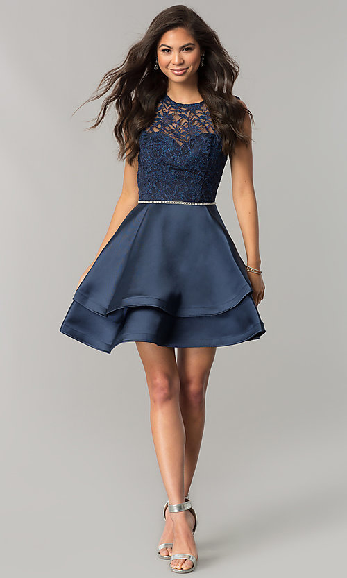 Image of lace-bodice short homecoming dress with satin skirt. Style: DQ-2011 Detail Image 3