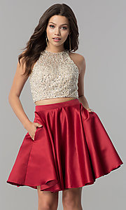 Image of short two-piece homecoming dress with pockets. Style: DQ-2027 Detail Image 2