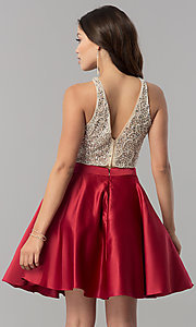 Image of short two-piece homecoming dress with pockets. Style: DQ-2027 Detail Image 3