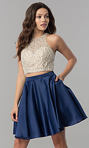 Image of short two-piece homecoming dress with pockets. Style: DQ-2027 Front Image