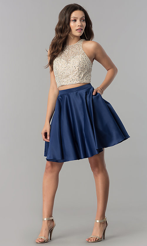 Image of short two-piece homecoming dress with pockets. Style: DQ-2027 Detail Image 1