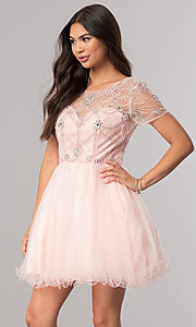 Image of short homecoming dress with beaded-illusion bodice. Style: DQ-2028 Front Image
