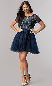 Image of short homecoming dress with beaded-illusion bodice. Style: DQ-2028 Detail Image 3