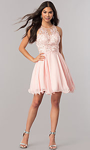 Image of beaded-lace-applique short chiffon homecoming dress. Style: DQ-2076 Detail Image 2