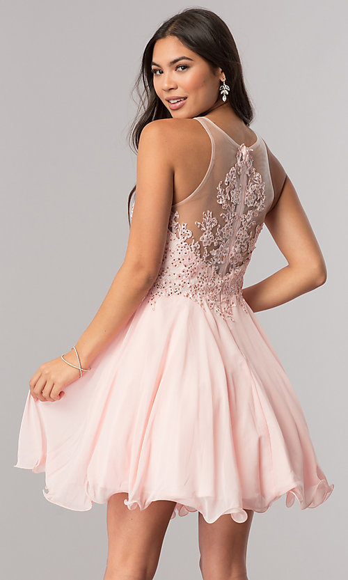 Image of beaded-lace-applique short chiffon homecoming dress. Style: DQ-2076 Back Image