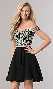 Image of short off-the-shoulder homecoming dress with v-neck. Style: DQ-9983 Detail Image 2