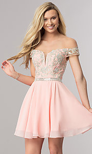 Image of short off-the-shoulder homecoming dress with v-neck. Style: DQ-9983 Detail Image 3