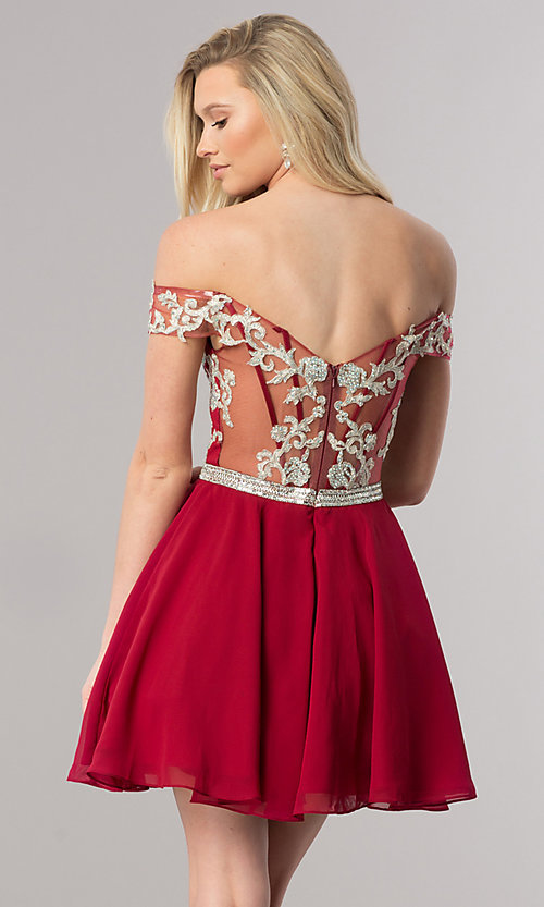 Image of short off-the-shoulder homecoming dress with v-neck. Style: DQ-9983 Back Image