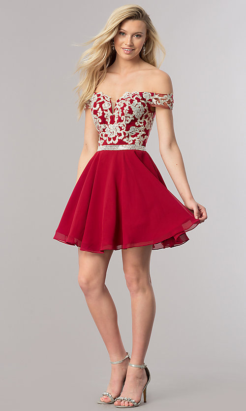 Image of short off-the-shoulder homecoming dress with v-neck. Style: DQ-9983 Detail Image 1