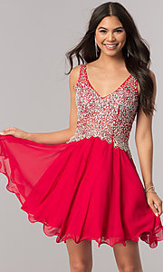 Image of short homecoming party dress with jeweled v-neck. Style: DQ-2113 Front Image
