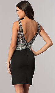 Image of short homecoming dress with jeweled v-neck bodice. Style: DQ-2114 Detail Image 2