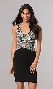 Image of short homecoming dress with jeweled v-neck bodice. Style: DQ-2114 Detail Image 1