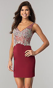 Image of short homecoming dress with jeweled v-neck bodice. Style: DQ-2114 Front Image