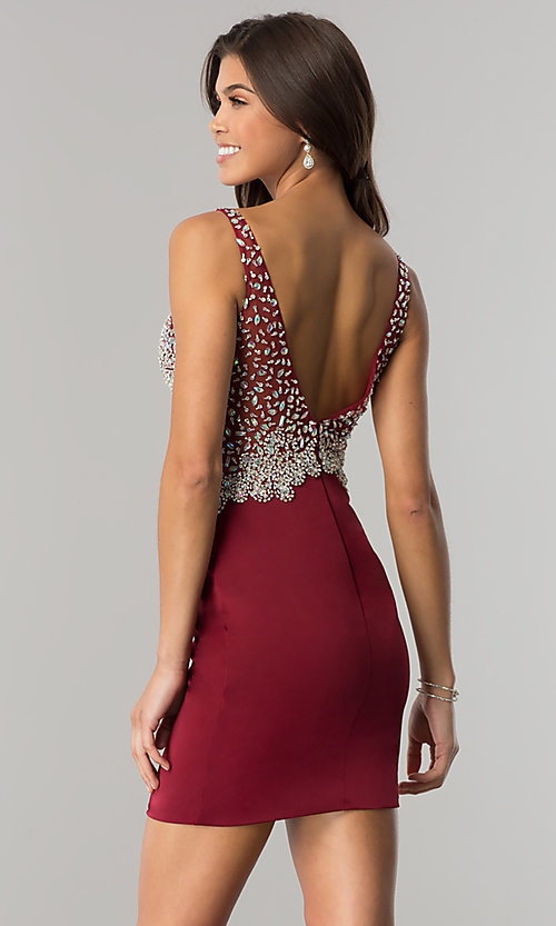Image of short homecoming dress with jeweled v-neck bodice. Style: DQ-2114 Back Image