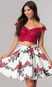 Image of two-piece homecoming dress with floral-print skirt. Style: DQ-2031 Front Image