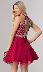 Image of short burgundy red homecoming party dress with beads. Style: DQ-2116 Back Image