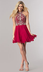 Image of short burgundy red homecoming party dress with beads. Style: DQ-2116 Detail Image 1