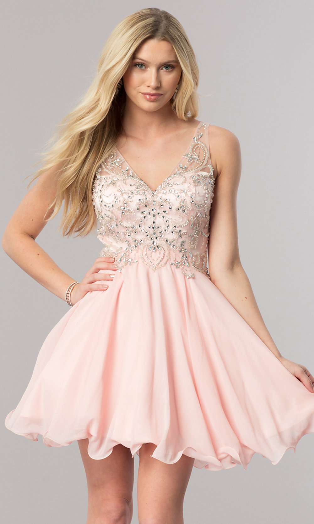 7629f5496d7 Image of v-neck short homecoming dress with jeweled bodice. Style  DQ-. Tap  to expand