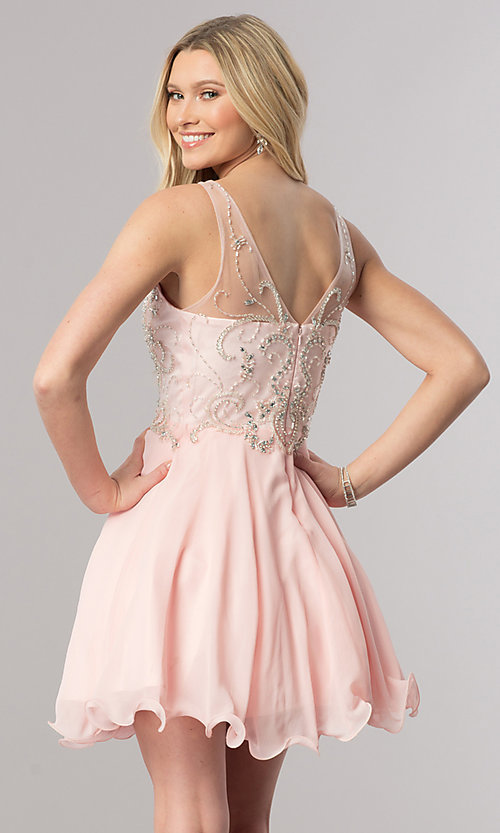 Image of v-neck short homecoming dress with jeweled bodice. Style: DQ-9998 Back Image