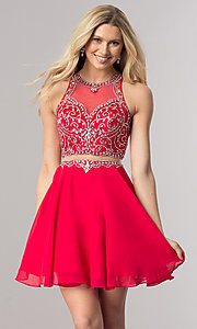 Short Mock-Two-Piece Chiffon Homecoming Dress