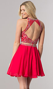Image of short mock-two-piece chiffon homecoming dress. Style: DQ-2123 Back Image