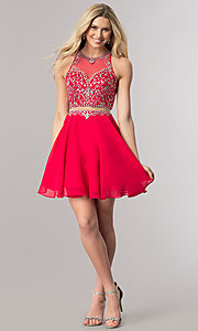 Image of short mock-two-piece chiffon homecoming dress. Style: DQ-2123 Detail Image 1