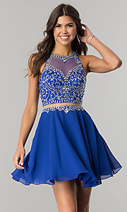 Image of short mock-two-piece chiffon homecoming dress. Style: DQ-2123 Detail Image 2