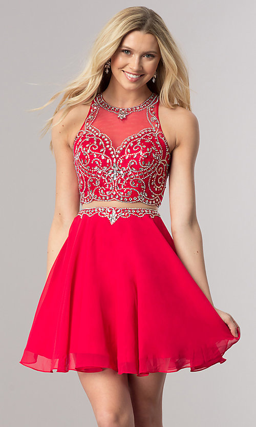 Image of short mock-two-piece chiffon homecoming dress. Style: DQ-2123 Front Image