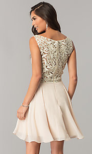 Image of chiffon short homecoming dress with lace bateau neck. Style: DQ-2135 Back Image