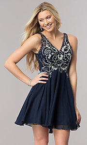 Image of navy blue short v-neck homecoming dress with cut outs. Style: DQ-2124 Front Image