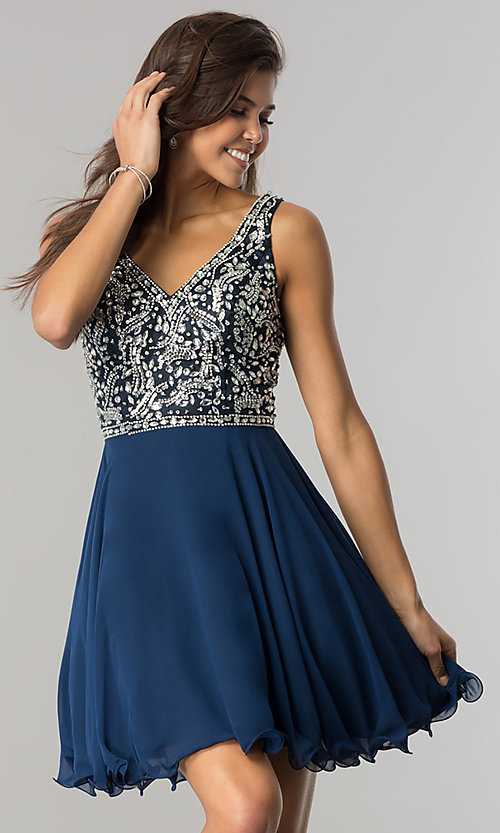 Image of v-neck short chiffon homecoming dress with beads. Style: DQ-2118 Detail Image 3