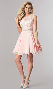 Image of short chiffon homecoming party dress in blush pink. Style: DQ-2117 Detail Image 1