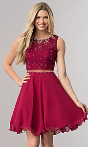 Burgundy Red Short A-Line Homecoming Dress with Sheer Waist