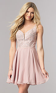 A-Line Short V-Neck Homecoming Dress with Lace Applique