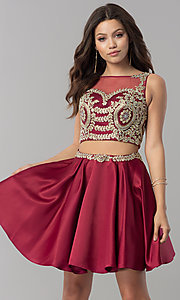 Image of short two-piece homecoming dress with lace applique. Style: DQ-2106 Detail Image 1