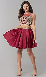 Image of short two-piece homecoming dress with lace applique. Style: DQ-2106 Detail Image 3