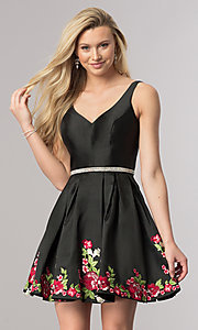 Short A-Line Embroidered-Hem Homecoming Dress