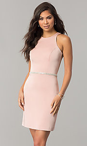 Short Racerback Homecoming Dress with Jeweled Waist