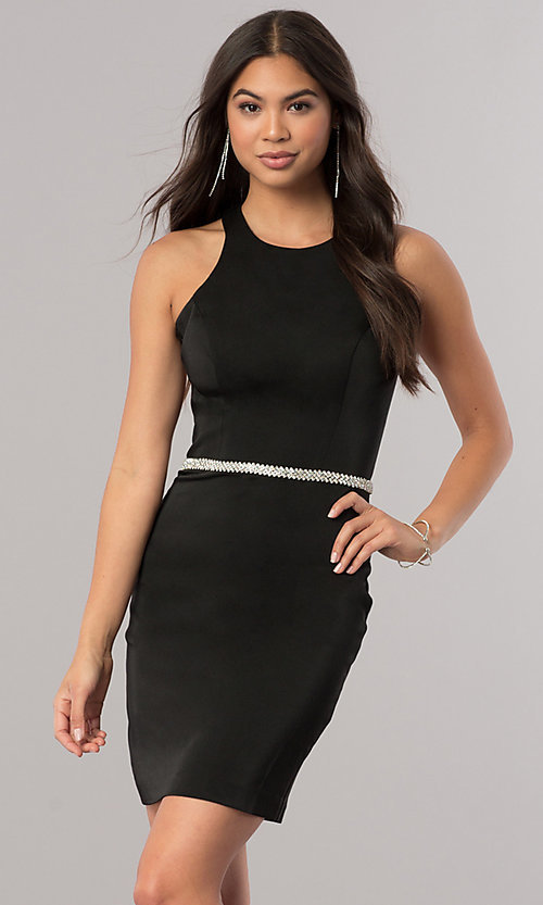Image of short racerback homecoming dress with jeweled waist. Style: DQ-2065 Detail Image 1