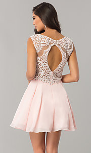 Image of chiffon short homecoming dress with lace applique. Style: DQ-2051 Back Image