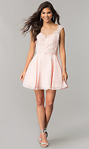 Image of chiffon short homecoming dress with lace applique. Style: DQ-2051 Detail Image 2