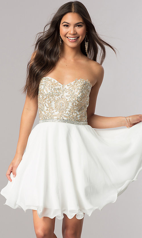 Image of short strapless sweetheart party dress with beads. Style: DQ-2049 Front Image