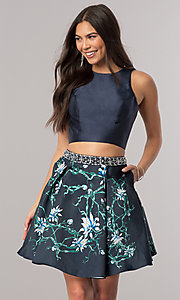 Image of two-piece satin short homecoming dress with pockets. Style: DQ-2060 Front Image