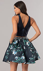 Image of two-piece satin short homecoming dress with pockets. Style: DQ-2060 Back Image