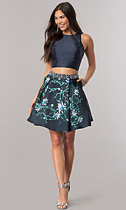 Image of two-piece satin short homecoming dress with pockets. Style: DQ-2060 Detail Image 1