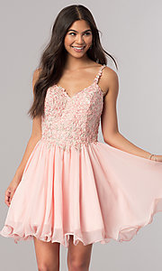 Sweetheart Embroidered Bodice Short Homecoming Dress