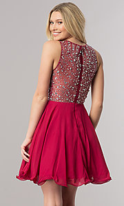 Image of short sleeveless homecoming dress with beaded bodice. Style: DQ-2122 Back Image