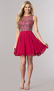 Image of short sleeveless homecoming dress with beaded bodice. Style: DQ-2122 Detail Image 1